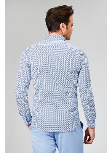 Avva Desenli Slim Fit Uzun Kollu Gömlek Mavi